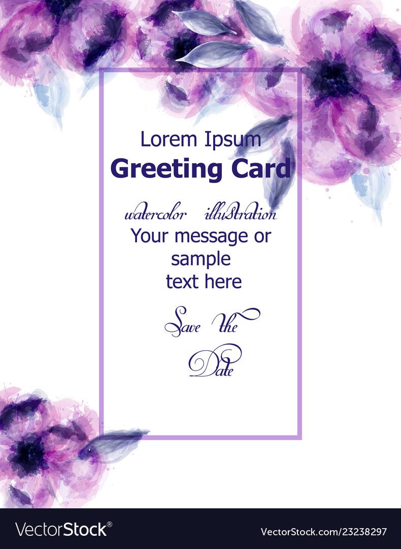 Purple flowers watercolor card purple