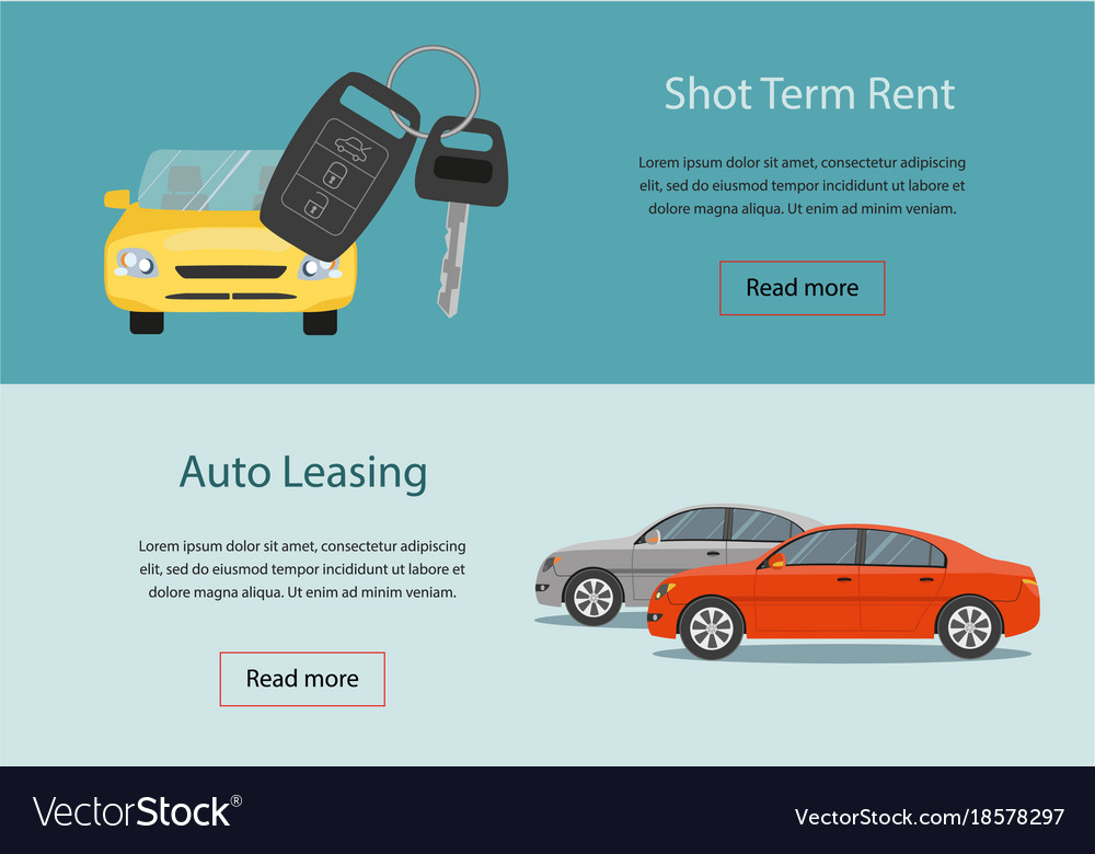 Rental Car And Auto Leasing Banners Royalty Free Vector