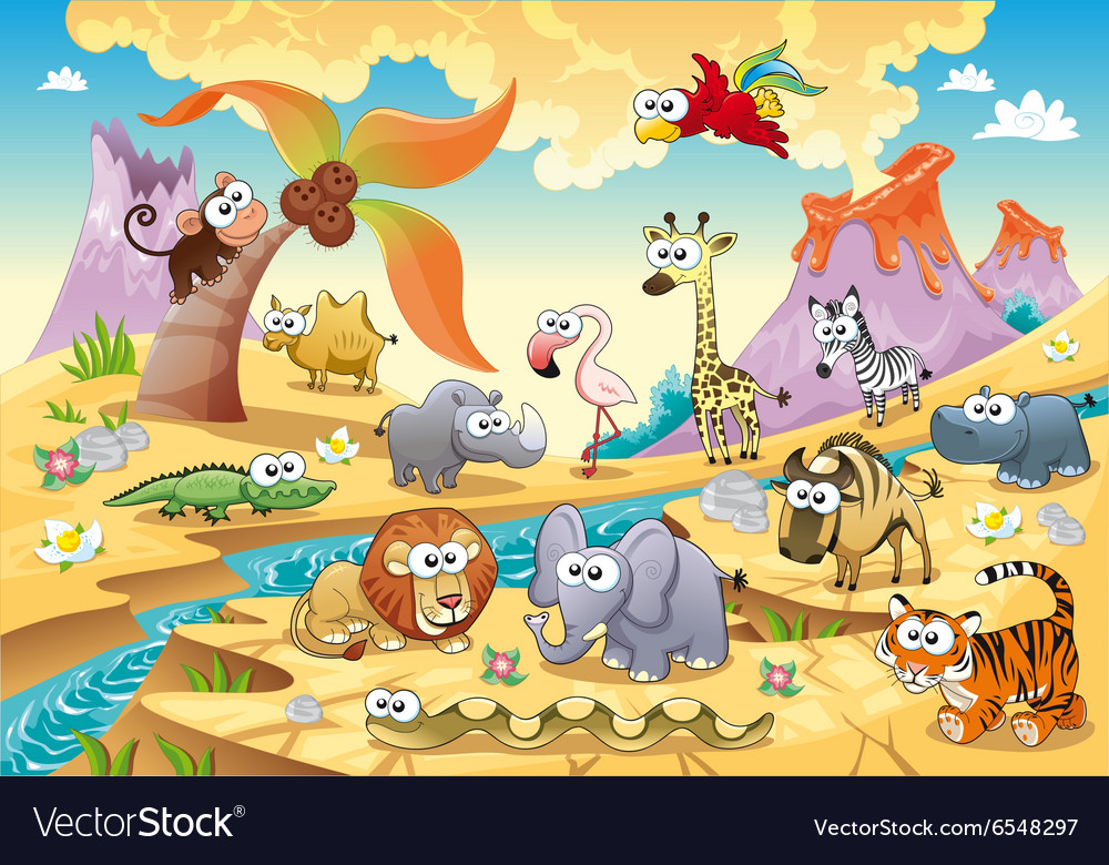 Savannah animal family with background vector image