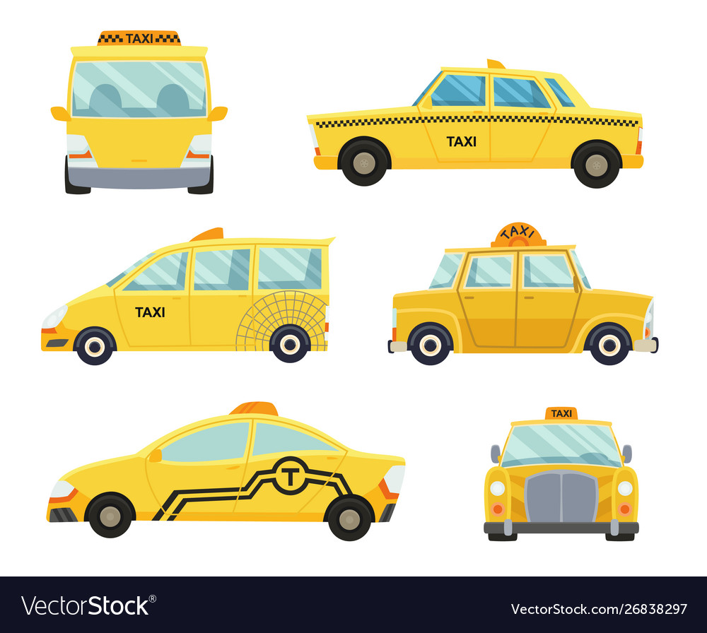 Set different types taxi cars and