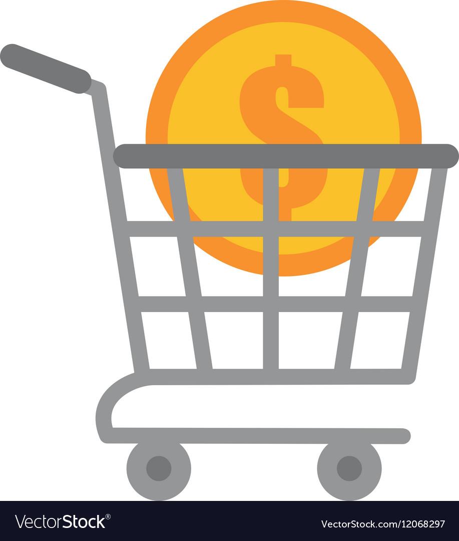 Shopping cart online coin dollar