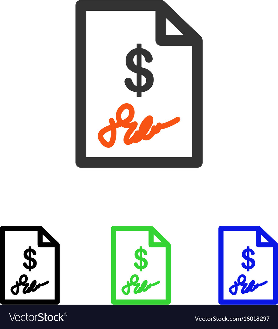 signed invoice flat icon royalty free vector image