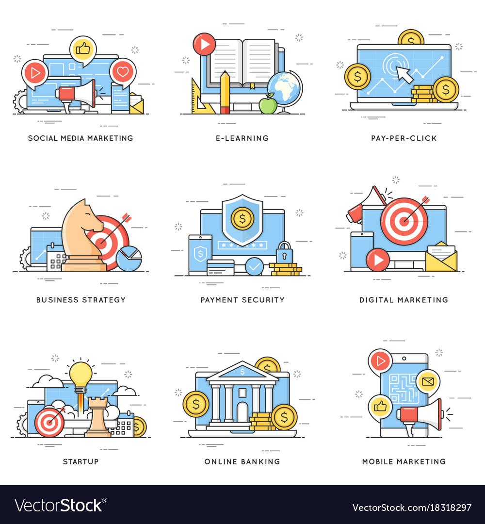Social media digital and mobile marketing e vector image