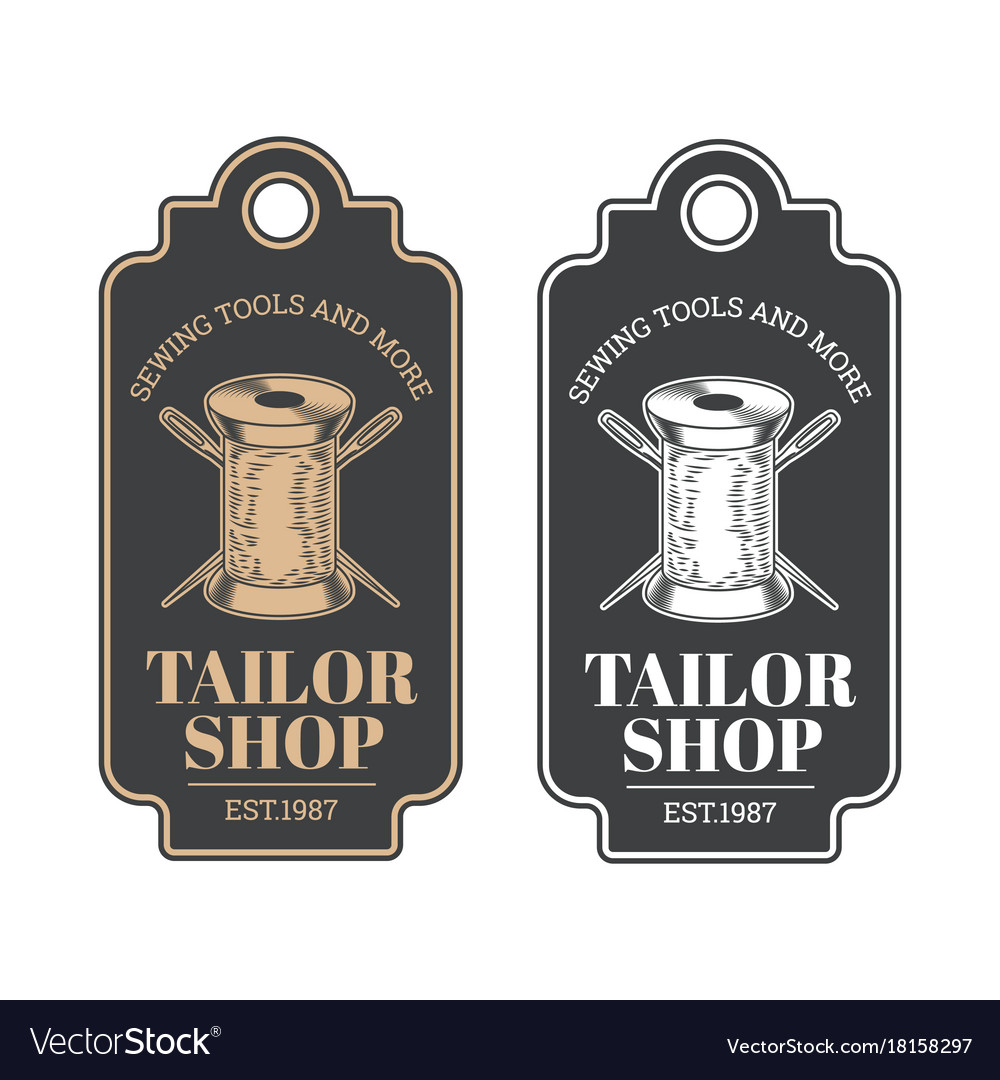 Tailor shop vintage emblem or signage
