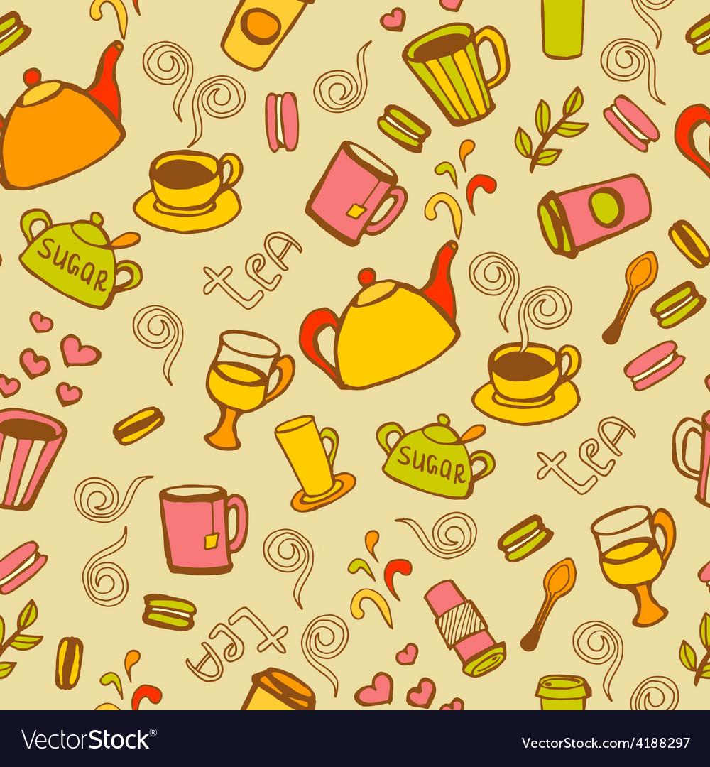 Tea and coffee seamless background
