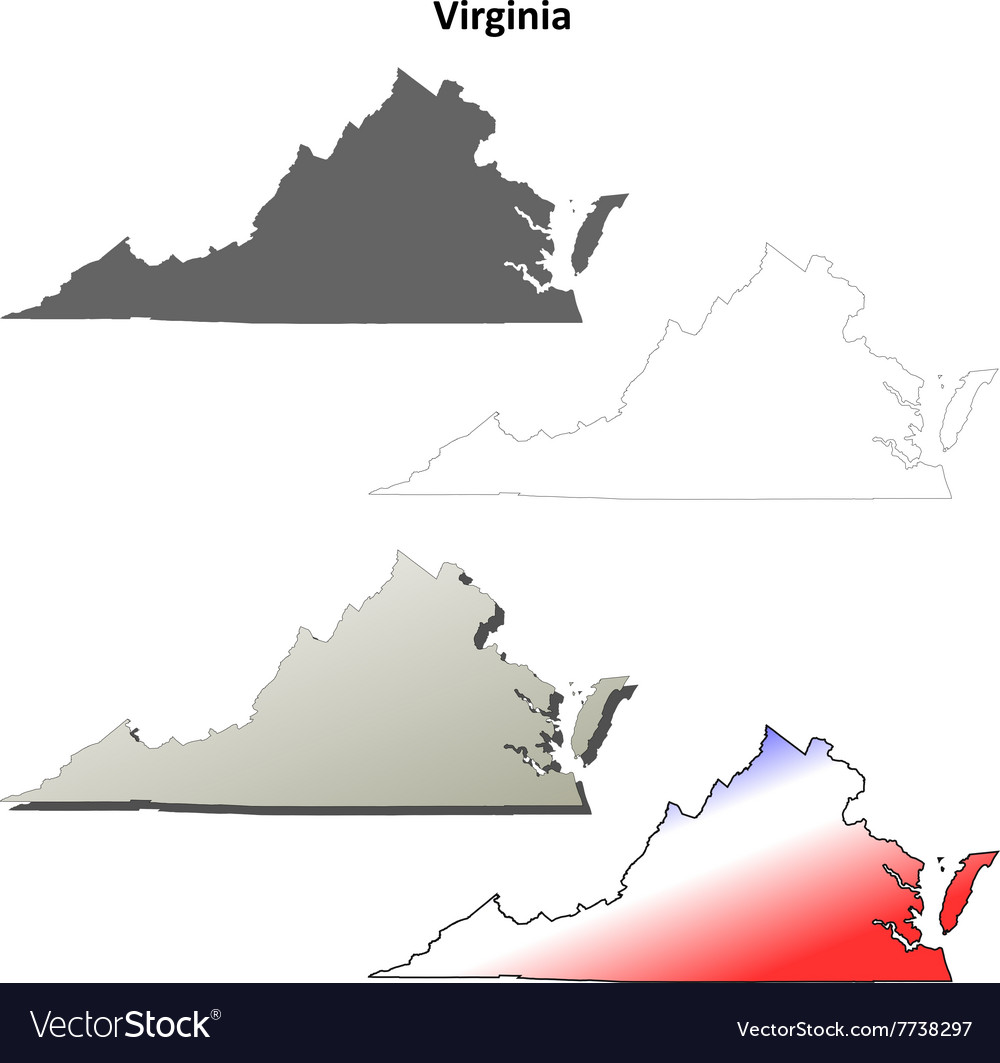 Outline Map Of Virginia.Virginia Outline Map Set Royalty Free Vector Image