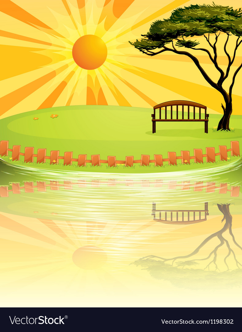 A sunset at the park vector image