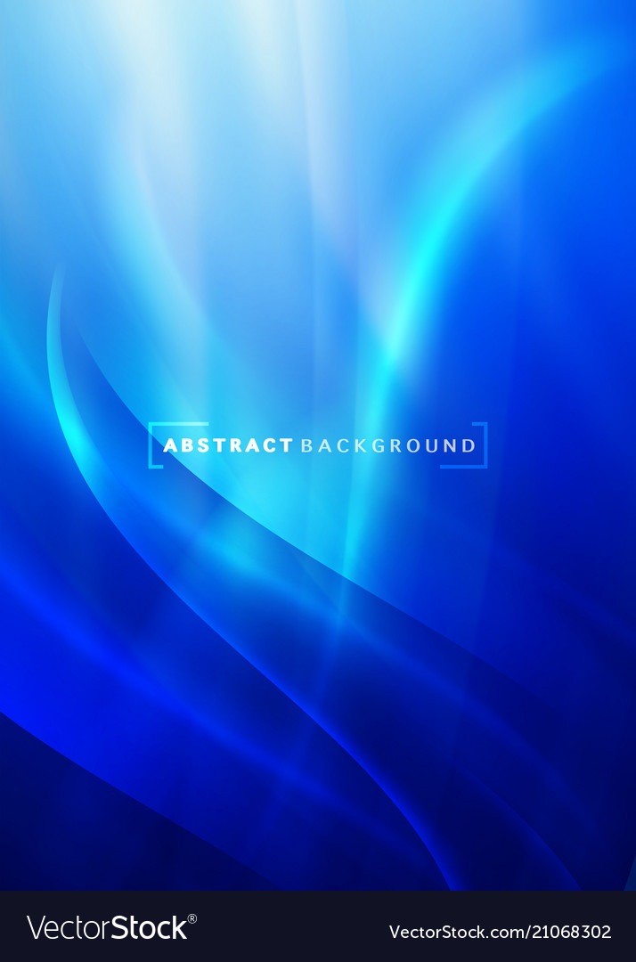 Abstract curving and smooth flow blue background vector image