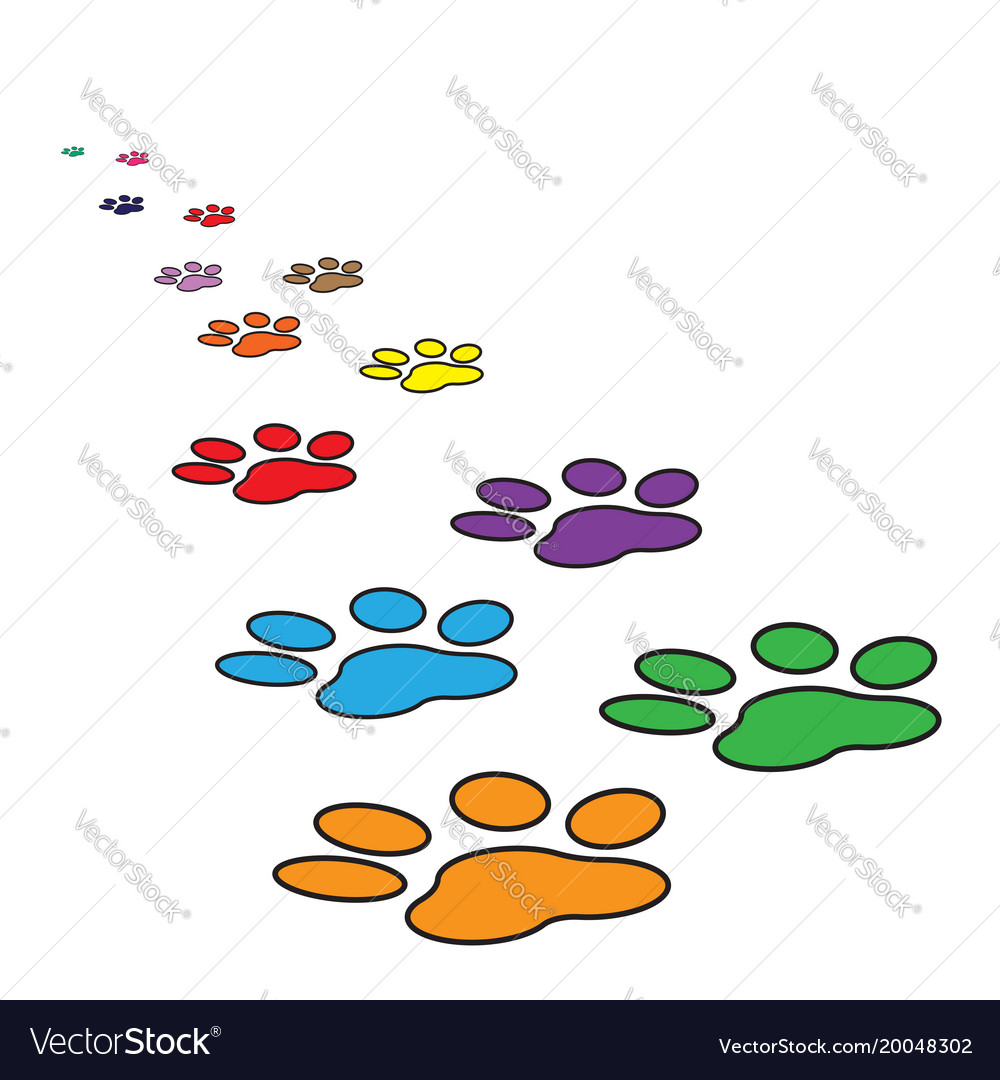 Colorful paw print icon isolated on white