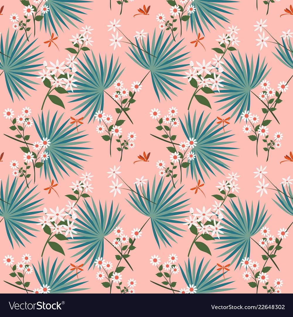 Cute white flowers with tropical leaves on pastel
