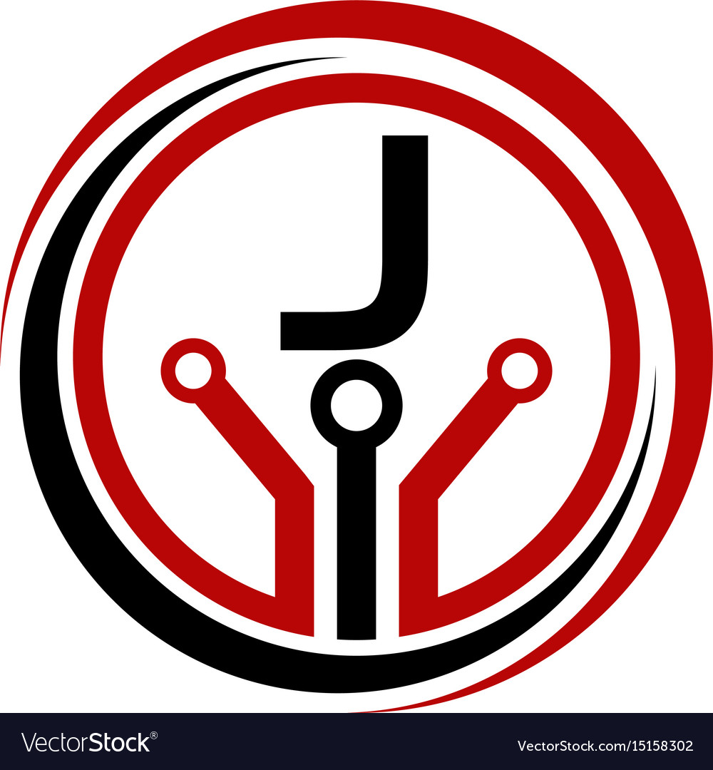 Digital world and electrical connections initial j vector image