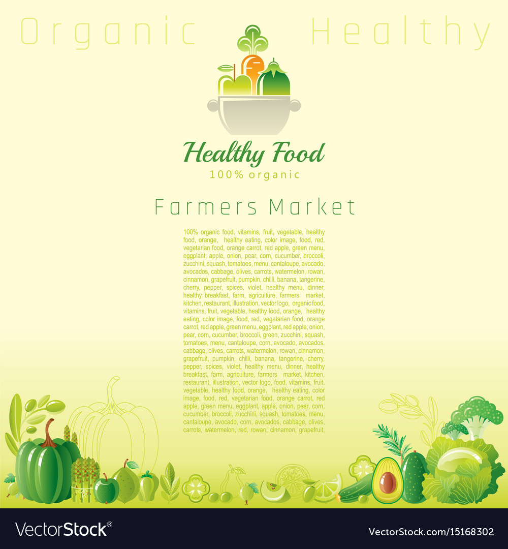Green autumn farmers market fruit and vegetable vector image