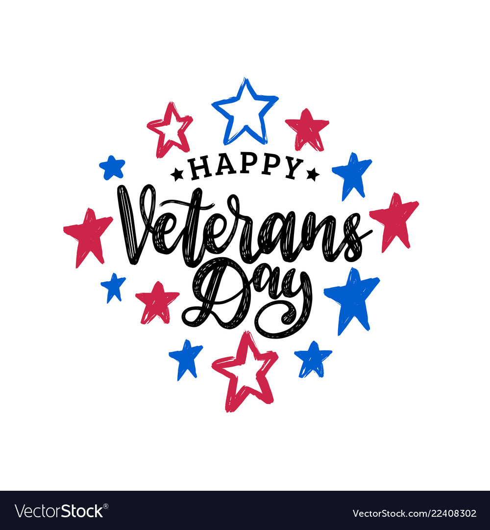 Happy veterans day hand lettering on color stars