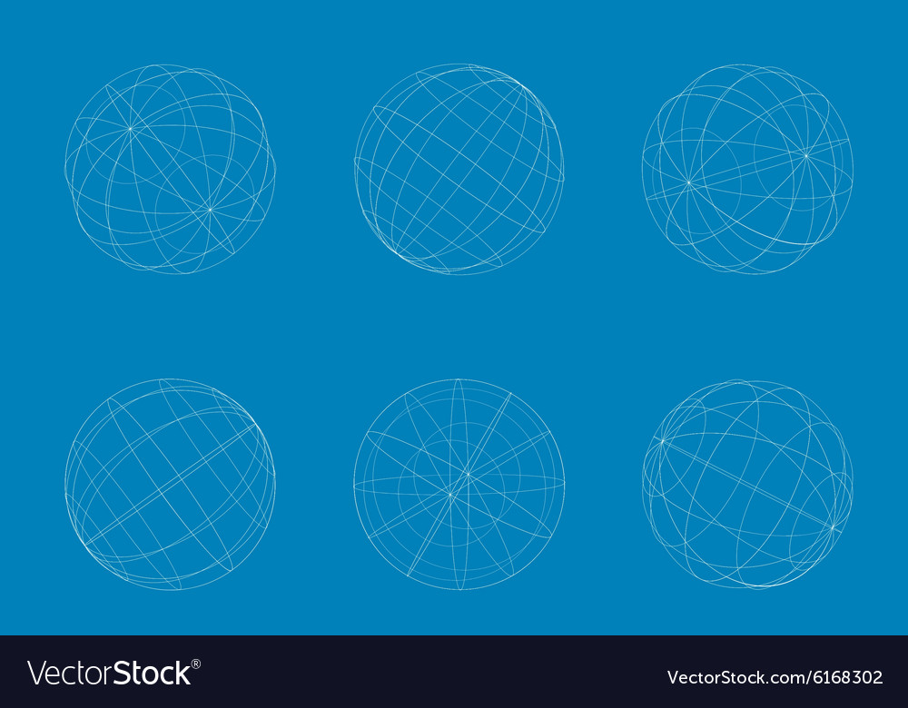 Modern geometric white circle sphere set vector image