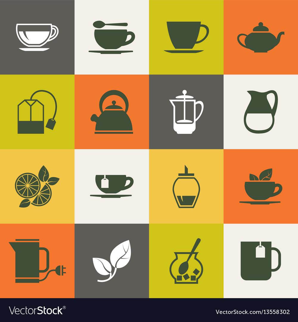 Multicolor tea icons set