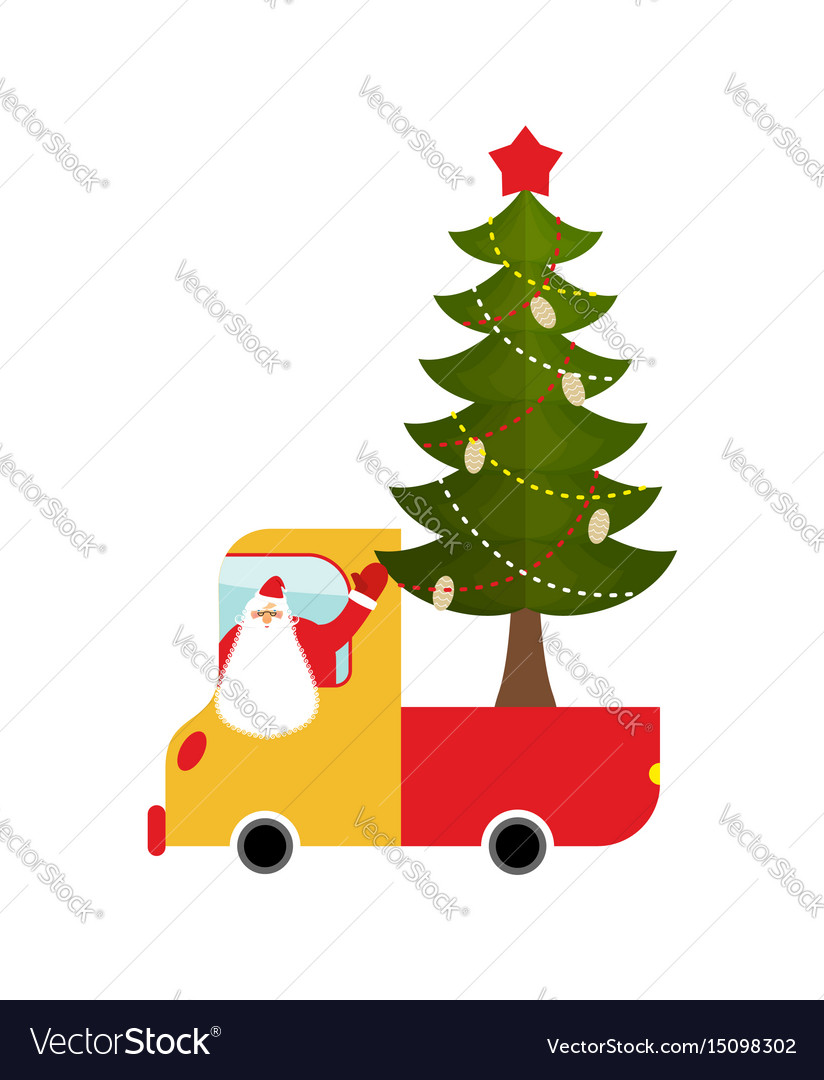 Santa claus in truck with tree holiday car new
