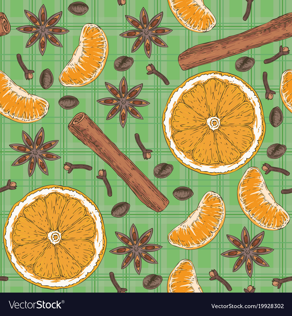 Seamless pattern citrus spices and coffee beans