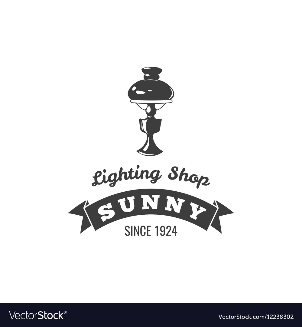 Table Lamp Label Sunny Ribbon Lighting Shop Badge vector image