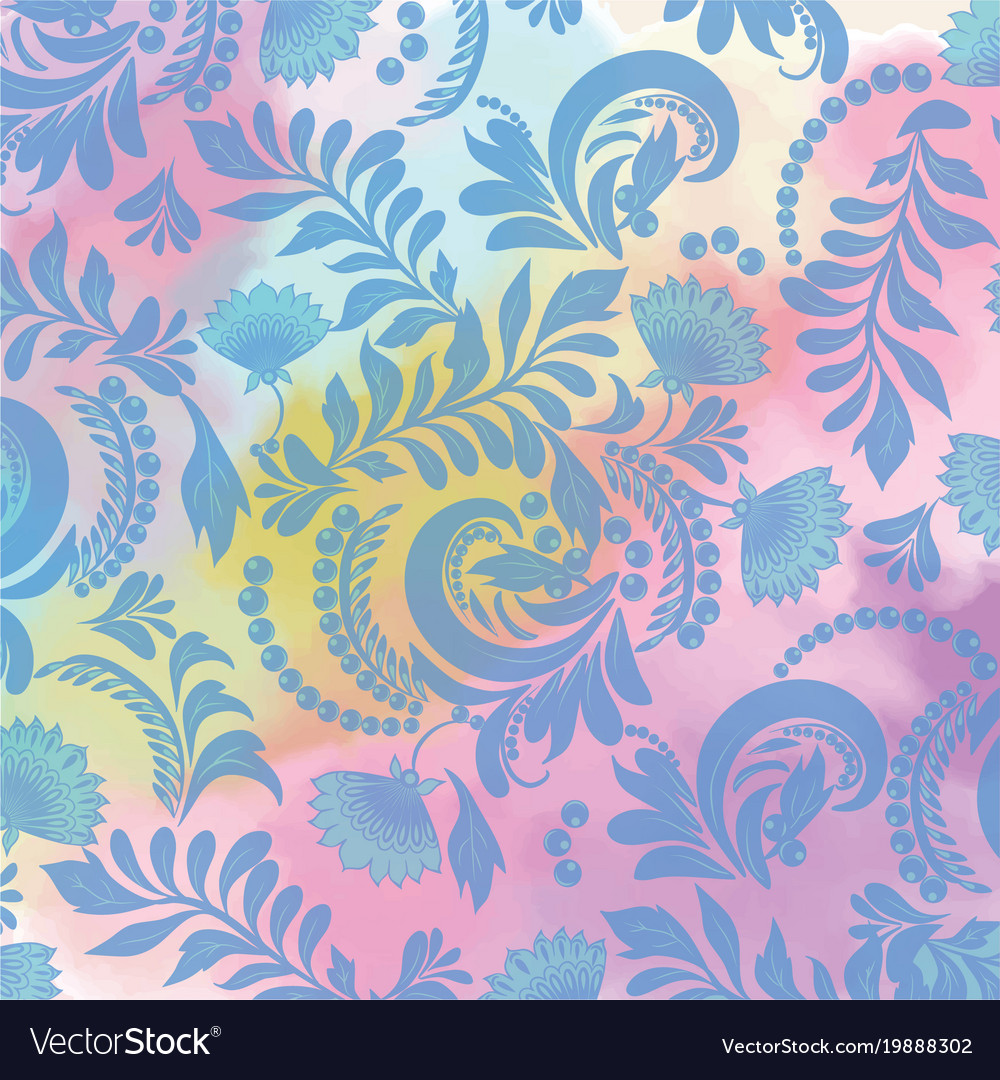Watercolor background and floral seamless blue
