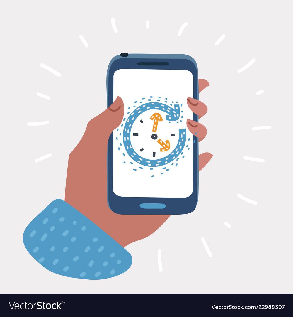Alarm clock on smartphone screen wake up app