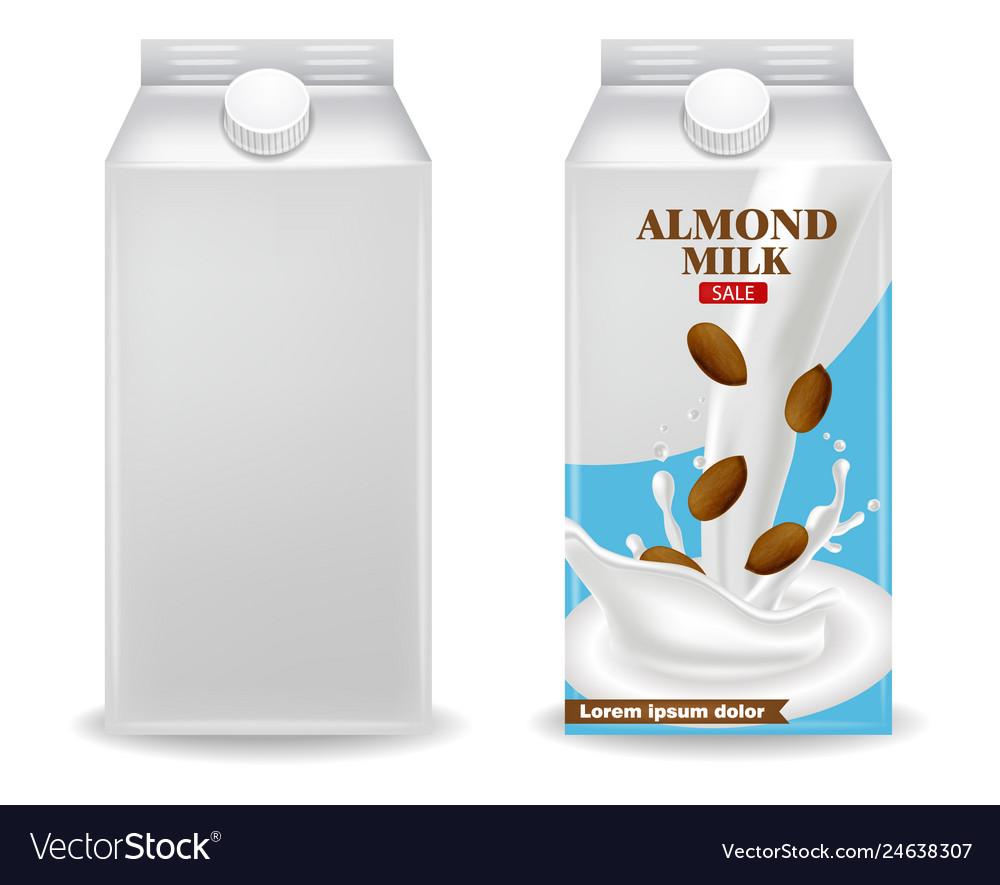 Almond milk realistic product box label