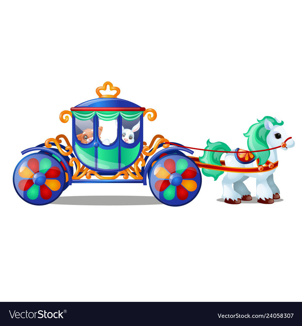 Animated circus horse or pony carries small