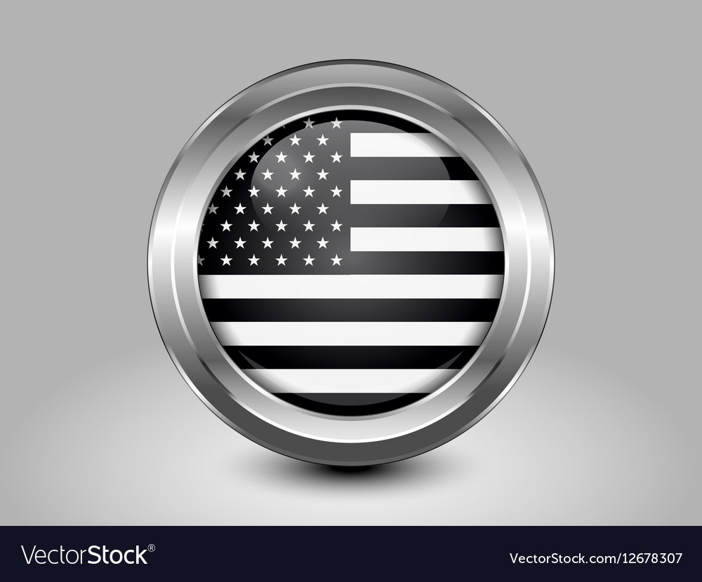 Black and White American Flag Round Icon