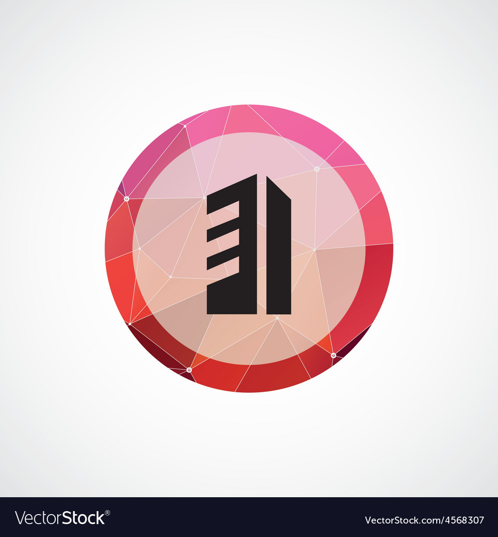 Building circle pink triangle background icon