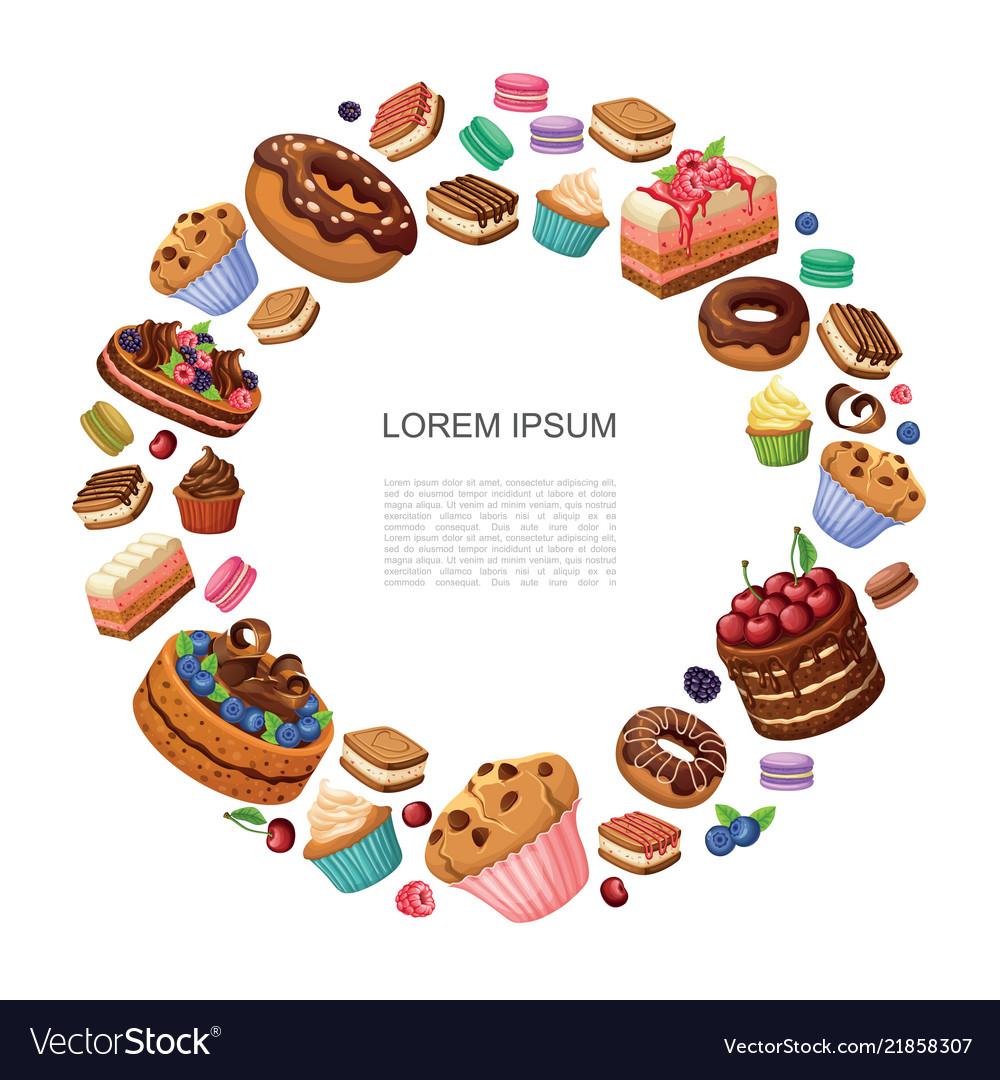 Cartoon desserts round concept