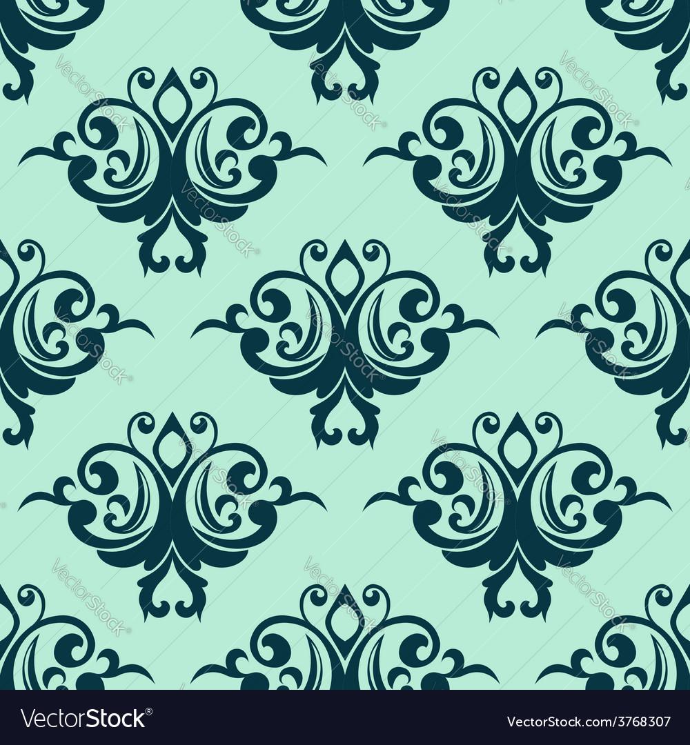 Damask style seamless pattern in blue