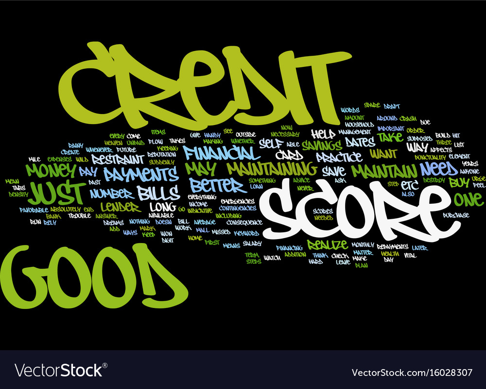 Design Bank Wit.Good Credit Score Text Background Word Cloud Vector Image