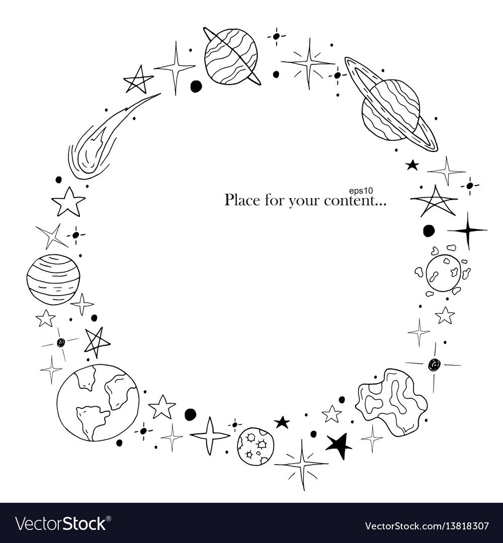 Hand drawn frame space elements in doodle style