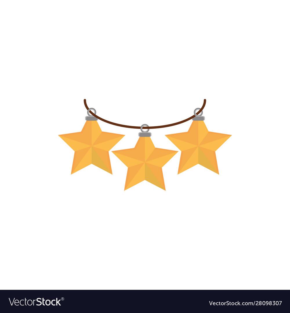 Hanging gold stars decoration happy christmas icon