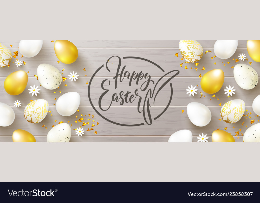 Happy easter banneregg hunt golden and white