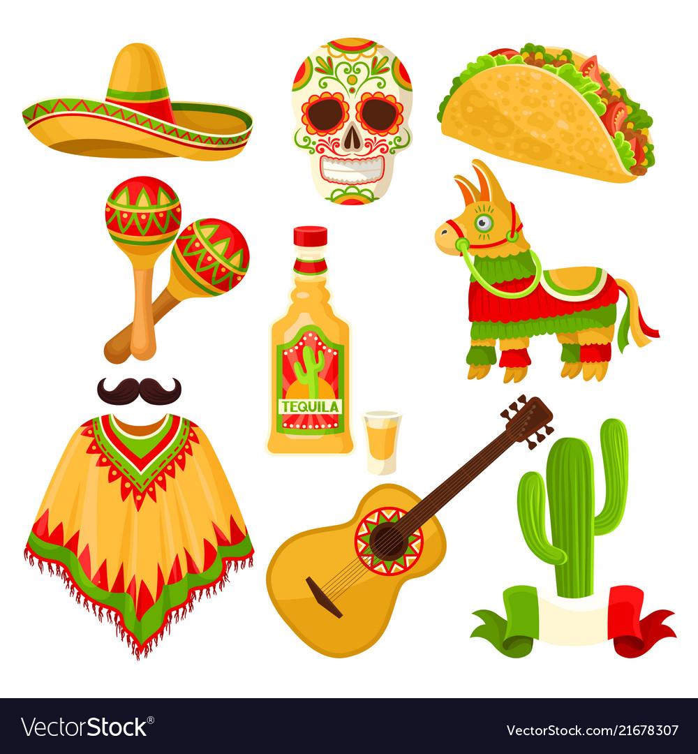Mexican holiday symbols set sombrero hat sugar