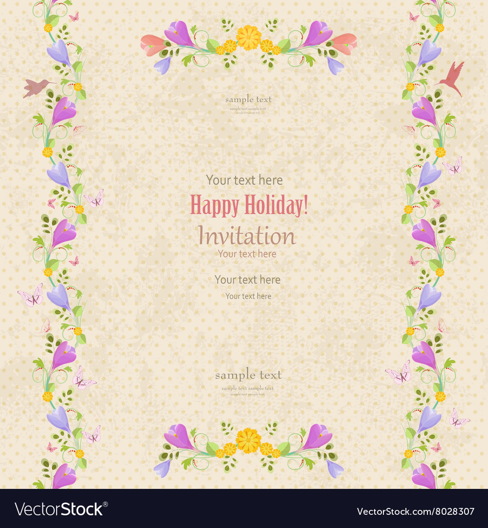 Retro Invitation Card With Seamless Floral Borders