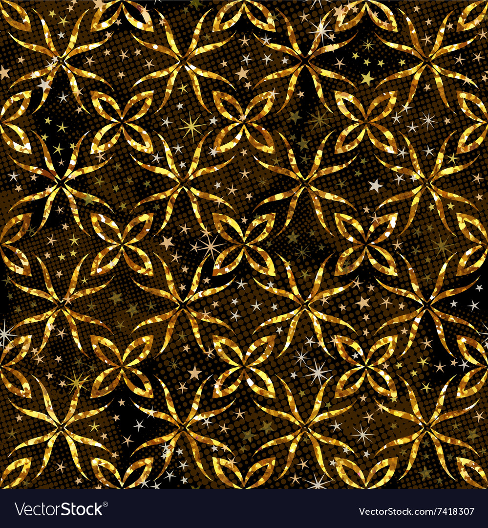 Seamless pattern with golden ornament