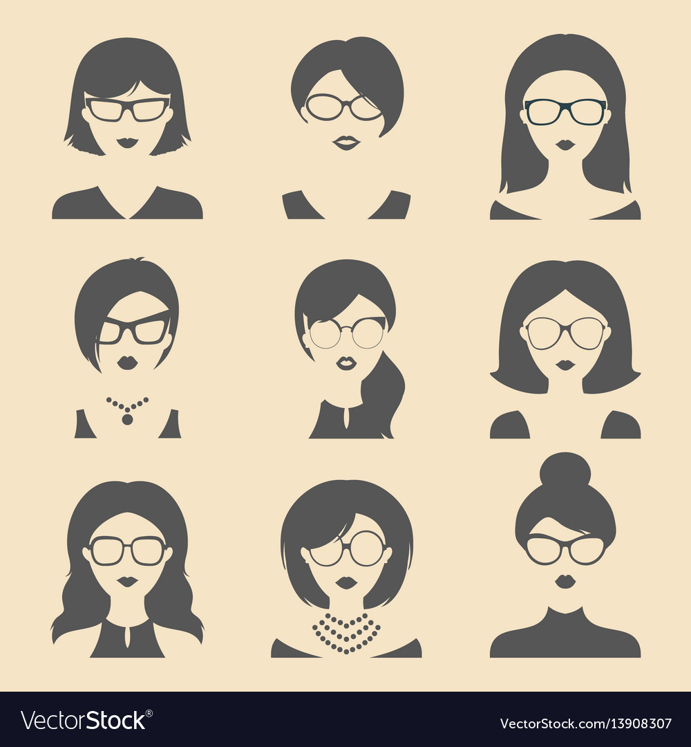Set of different women app icons in glasses vector image
