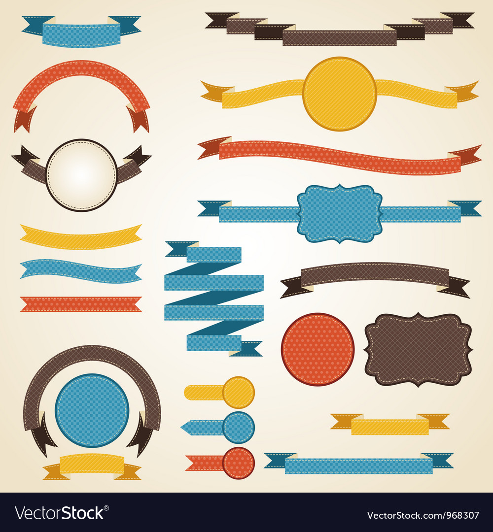 Set retro ribbons and labels
