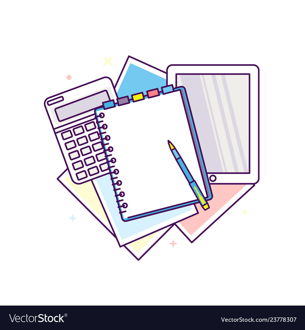 Top view workplace with documents