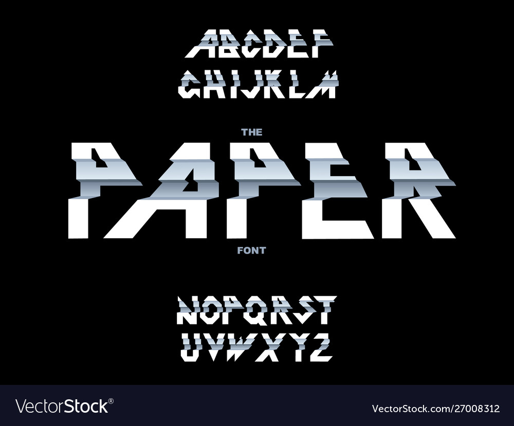 Alphabet paper folding ribbon script