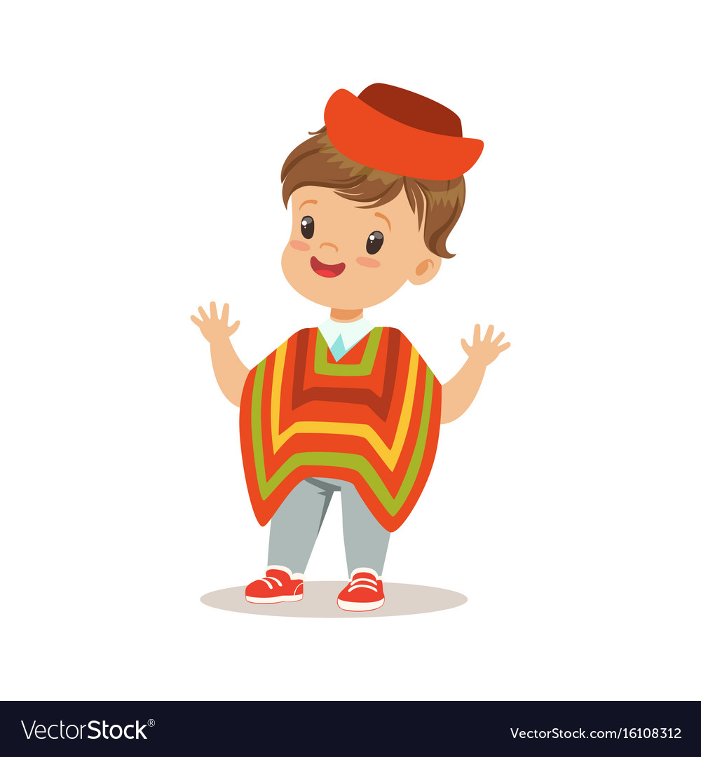 Boy wearing national costume of peru colorful vector image