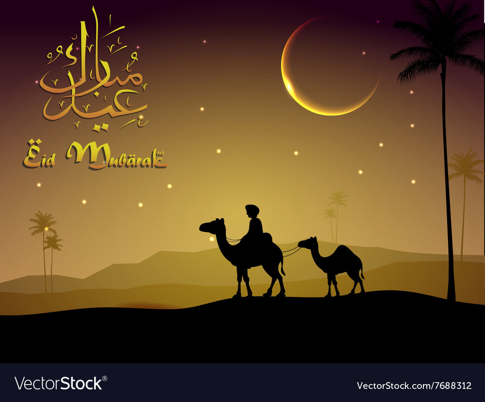 Camel walks through the desert in evening vector image
