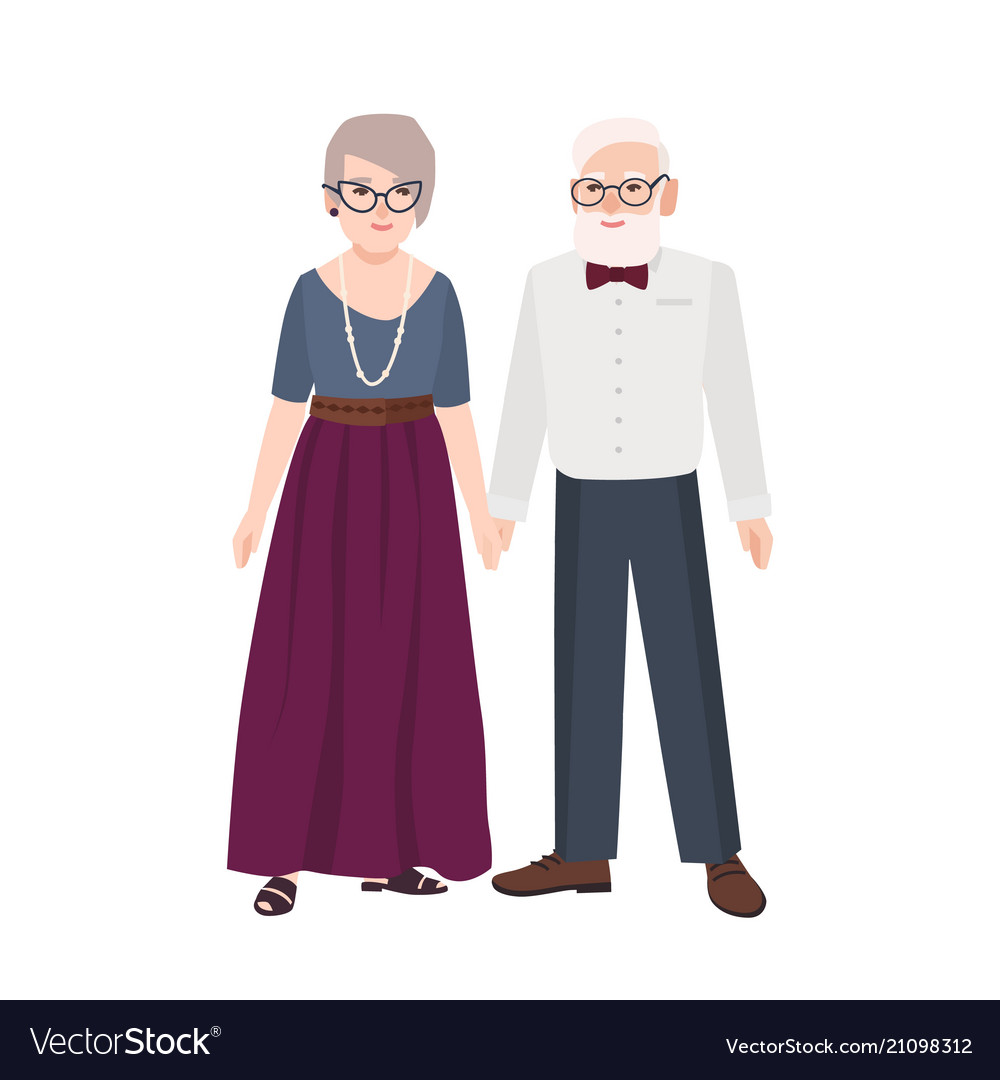 Elegant elderly couple pair of old man and woman