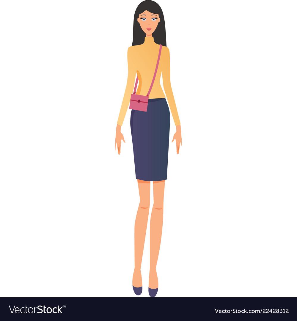 Fashionable modern girl in beautiful multi-colored