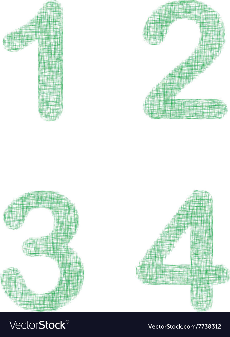 Green fabric font set - numbers 1 2 3 4