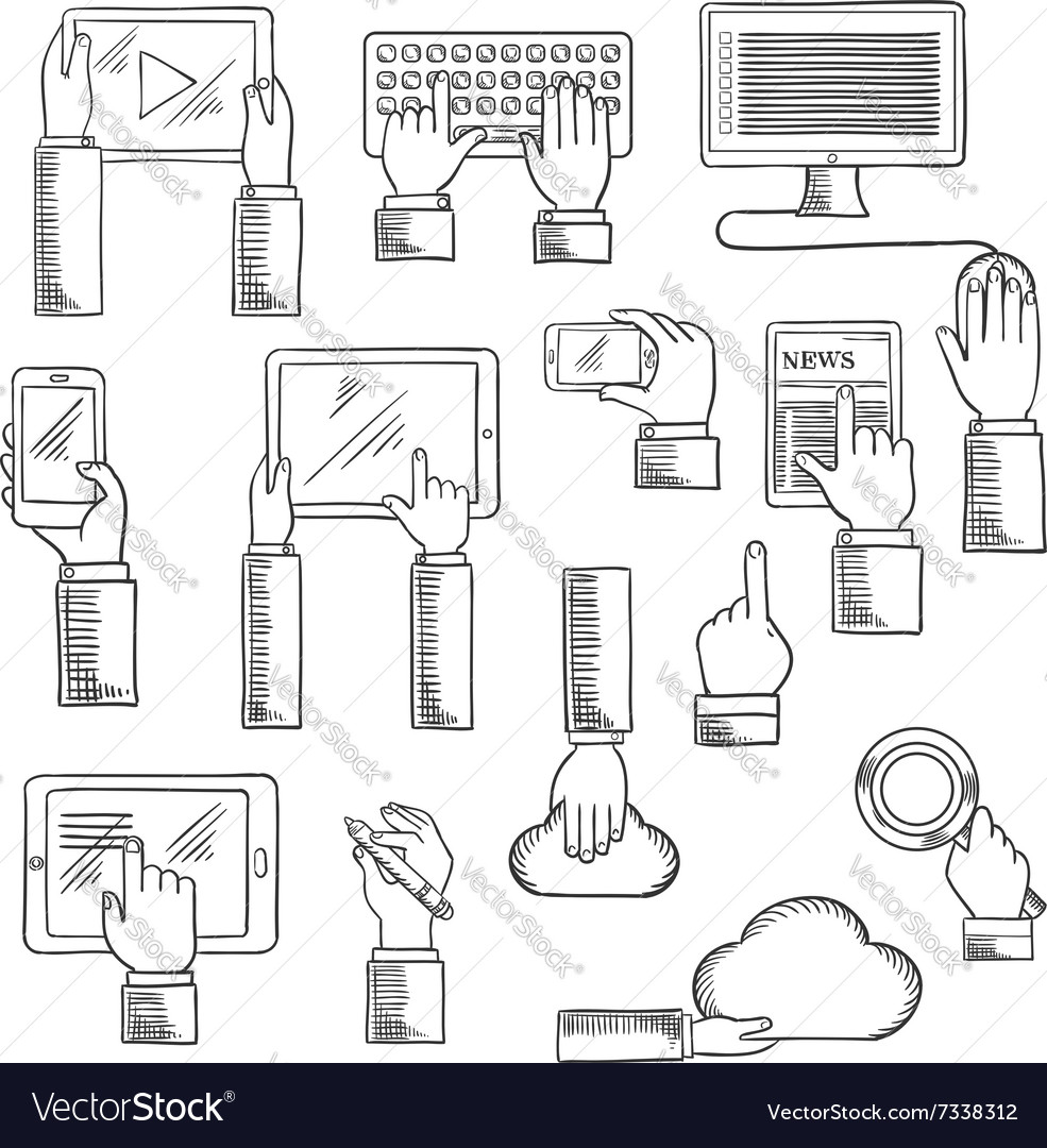 Human hands with digital devices
