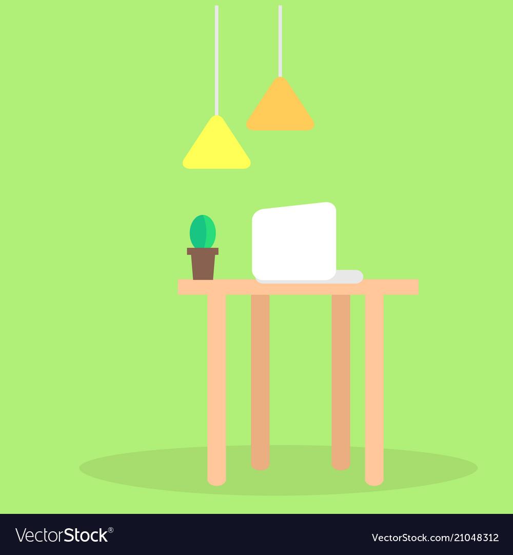 Modern workplace flat concept