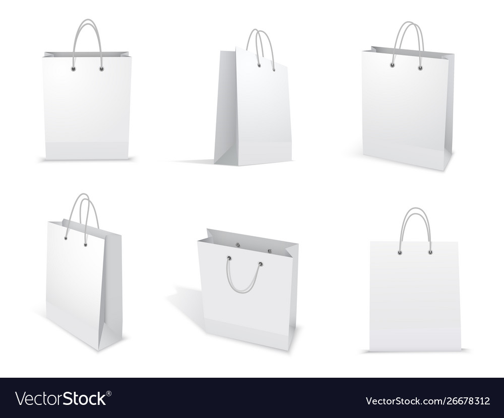 Paper bag for shopping set packet template