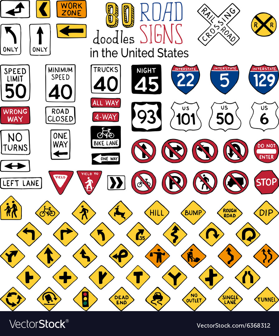 Set of cartoon road signs in the United States